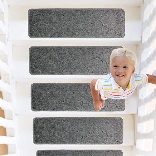 RainDecor Stair Treads Trellis Design Soft Carpet Surface with Slip Resistant Rubber Backing Machine Washable, Grey, 8 ½ inch X 27 ½ inch, 13 Pcs Set