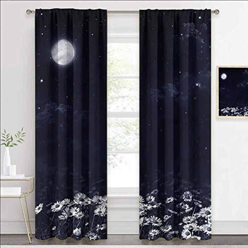 painting-home Rod Pocket Window Curtains Night, Dark Night White Daisies Hotel Curtains Keep The Indoor Privacy W84 x L84 Inch
