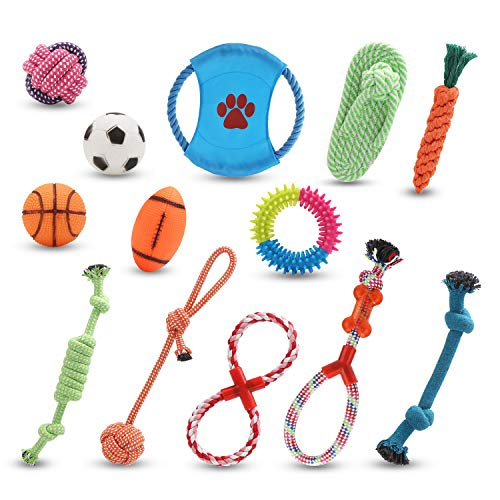 Segarty Rope Dog Toys, Set of 13 Pet Toys for Teething, 10 Rope Play Toy for Aggressive Chewers, 3 Squeaky Balls - Basketball, Rugby & Football, Gift for Medium Dogs and Large Dogs