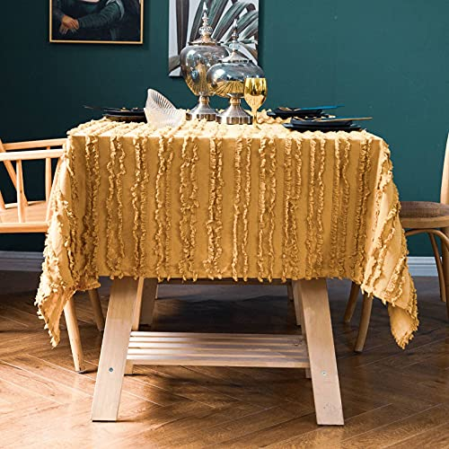 Algodón Lino Mantel, Colores Sólidos Rectangular Multiusos Prueba de Polvo Mantel de Mesa para Jardín Cocina Comedor Protector de Mesa-amarillo-360X150cm(141' L x 59' W)