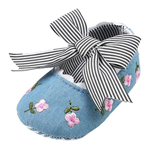 FNKDOR Baby Mädchen Erstlingsschuhe Stickerei Blume Mode Erste Schuhe(0-6 Monate,Blau)