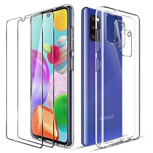 LK Kompatibel mit Samsung Galaxy A41 Hülle, 2 Displayschutz Schutzfolie & 2 Kamera Schutzfolie, 9H HD Klar Displayschutz Blasenfrei, Weiche TPU Silikon Case Cover - Transparent