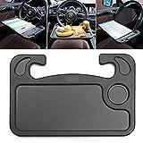JK'CAT Auto Steering Wheel Desk, Car Table Steering Wheel Tray Holder, Vehicle Seat Mount iPad Notebook Laptop Eating Desk,Car Food Eating Tray (Black)