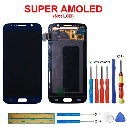 swark Super AMOLED Compatible with Samsung Galaxy S6 G920 G920A G920i G920T G920F G9200 LCD Touch Screen Display + Tools (Blue)