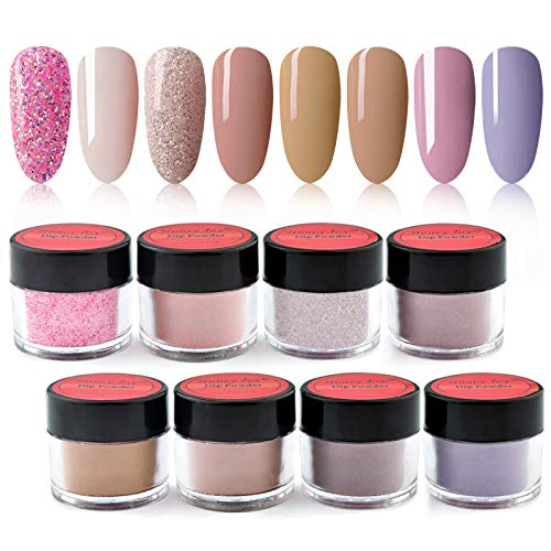8 box/set Honey Joy Fine Dipping Powder Dip Kit Powder Nail Color System, Nude Naked Brown Light Violet Purple, Like Gel Polish Effect, Even & Smooth Finishing (44-08-22-25-129-46-103-71-10g/box)…