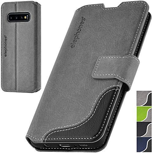 elephones® Handyhülle für Samsung Galaxy S10 Plus Hülle - Kompatibel mit Galaxy S10 Plus Schutzhülle Handy-Tasche Flip Hülle Grau