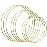 Celyoce 9 Aros Florales de Metal de 3 tamaños para Manualidades de Metal Dorado para atrapasueños, Manualidades para Colgar en la Pared (20 cm, 25 cm, 30 cm)