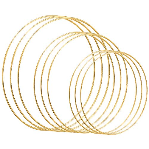 Celyoce 9 PCS 3 Size Metal Floral Hoops Gold Metal Craft Hoop Rings for DIY Dream Catchers, Wedding Wreath Decor and Wall Hanging Crafts (8inch / 20cm, 10 inch / 25cm, 12inch / 30cm)