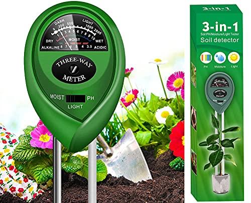 YIYICO Misuratore PH Terreno Sensore umidità Terreno Igrometro per Piante 3 in 1 per Rilevatore di umidità Luce PH per Giardino Prato Fattoria Non Sono Necessarie Batterie (Grün)