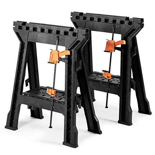 Goplus Clamping Sawhorse Pair with Bar Clamps, 2 PCS Folding Saw Horses with Built-in Shelf and Cord...