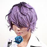 Mzcurse Ib Garry Purple Mix Brown Short Curly Cosplay Hair Wig