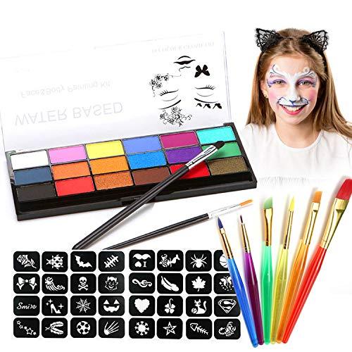 Joyhoop Halloween Schminke, 18 Professionelle Schminkfarben Face, 8 Berufs Pinsel und 32 Muster...