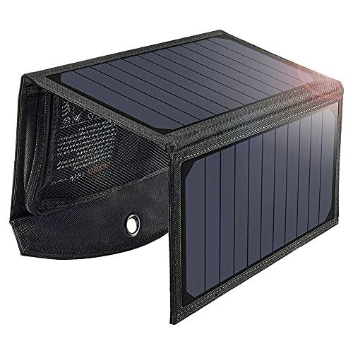 Cargador Solar 19W, Panel Solar Plegable Para Exteriores Resistente a la Lluvia, con 2 Puertos USB Compatible con Todos Los Teléfonos Móviles, iPad, Cámara, Tabletas, Altavoces Bluetooth