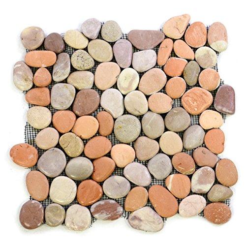 Divero 11 Fliesenmatten aus Naturstein Flussstein Mosaikfliesen Verschiedene Naturtöne á 32 x 32 cm
