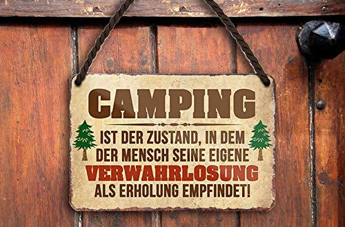 """schilderkreis24 – Blechschild Lustiger Spruch """"Camping Zustand."""" Deko Schild Metallschild Geschenkidee Retro Camper Wohnwagen Wohnmobil Geschenk Geburtstag Weihnachten Camping Fans 18x12 cm"""