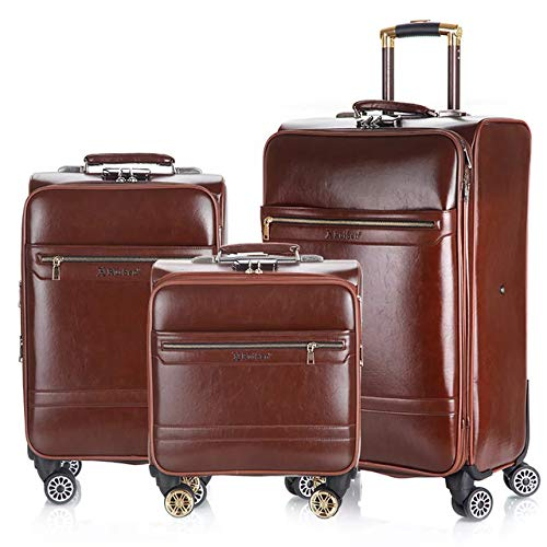 TUW 3PCS 16''20/24 inch Rolling luggage set travel suitcase Cabin trolley luggage business carry on suitcase PU leather big bag,3PCS set,20'