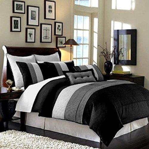 Legacy Decor 8 Pieces Black White Grey Luxury Stripe Comfort...