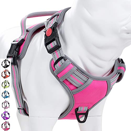Coohom No Pull Dog Harness with Handle and Two Leash Attachments,Adjustable Outdoor Pet Harness with Reflective Oxford Material for Small Medium Large Dogs (L, Rose Red 3 Buckles)