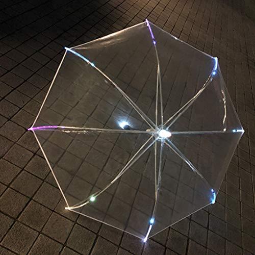 ECSWP LED-Leucht-Schirm Durchsichtig, Langer Stiel Werbegeschenk Regenschirm for Party Und Urlaubsatmosphäre Dekoration 8 Knochen