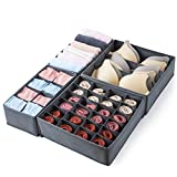 Qozary 4 Pack Foldable Drawer Organizers, Sock and Underwear Drawer Organizer Clothes, Desk Closet Fabric Organizer and Storage Drawer Dividers for Dresser Panties Underwear Bra Socks (Gray)