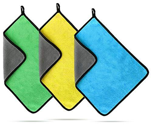 No branded Elinala Paño de Limpieza de Coches, Microfibra para Pulido, Se Utilizan Trapos de Microfibra, Súper Absorbentes y Súper Suaves de 3 Piezas para la Limpieza de Automóviles, Cocinas o Baños.