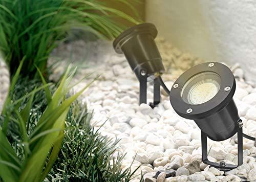Trango 1-flammig Gartenstrahler Gartenleuchte TG3078B Alu-Druckguss IP65 mit GU10 Fassung inklusive 1x 3.0 Watt GU10 LED Leuchtmittel