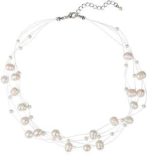 قلادات ودلايات مطبقة عقود لؤلؤ المياه العذبة - مجوهرات أنيقة قلادة هدايا للنساء قلادات