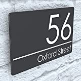 K Smart Sign | Exalted | EXA5-C-H1-27W-A | Composite Aluminium Anthracite Gray Floating House Sign Plaque Number | 200mm x 130mm