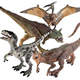 Fantarea 4 PCS Realistic Dinosaur Model Figures Carnotaurus Dilophosaurus Velociraptor Flying Pterodactyl Pteranodon Cake Topper Desktop Decoration Toys for Toddlers Boys Girls 5 6 7 8 Years Old