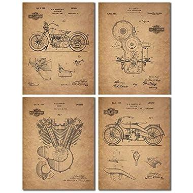 Harley Davidson Patent Wall Art Prints - Set of Four Photos (8.5 x 11)