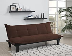 Neat and subtle design, perfectly sized for small spaces. Lush, microfiber upholstery with extra padded seats. Converts easily from sitting to lounging and sleeping. Easy assembly, no tools required. Weight limit: 600 lb. Microfiber upholstery for ea...