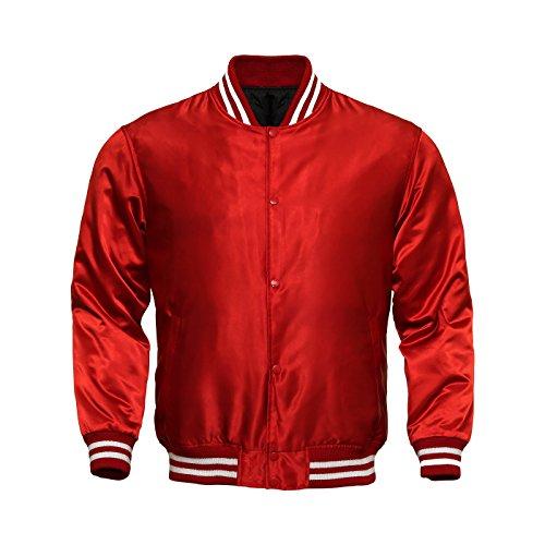 Men's Bomber Varsity Jacket Satin Polyester Vintage Army Biker Retro Zip Casual Jackets Top Coat (Red, Medium)