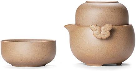 Preisvergleich für CUPWENH Grobe Keramik Schnelle Tassen Keramik Kung Fu Tee Mit Einem Topf Mit Zwei Tassen Leicht Teekanne Tragbare Tee-Set Für Geschenk Und Haushalts Büro
