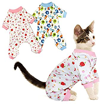 Rypet Small Dog Pajamas 2 Pack - Cute Cat Pajamas Onesie Soft Puppy Rompers Pet Jumpsuits Cozy Bodysuits for Small Dogs and Cats S