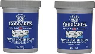 Goddards Silver Polisher - 170g/6 oz. Cleansing Foam with Sponge Applicator - Tarnish Remover, Pack of 2