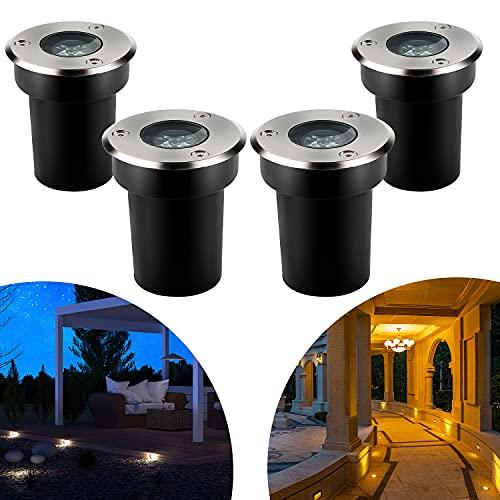CPROSP 4er Bodeneinbaustrahler Aussen 1W Warmweiß IP67 Wasserdicht 230V AC 270 Lumen 45° Gartenbeleuchtung 3000K für Wegbeleuchtung Garten Terrasse Treppen Edelstahl