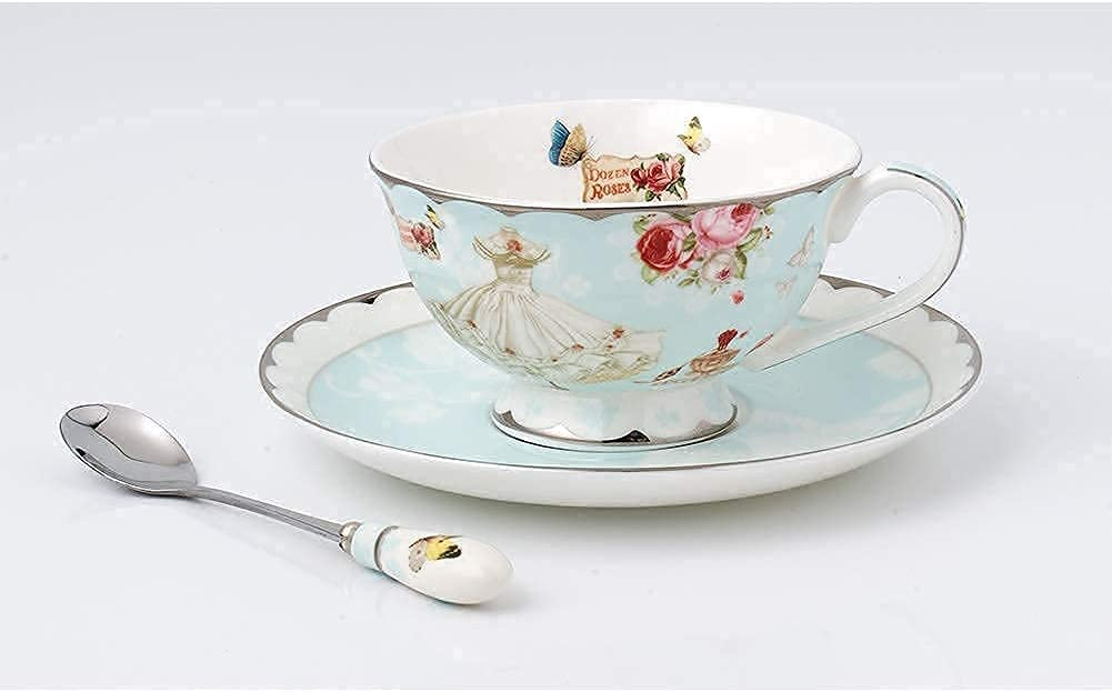 GESANGHUA 7 oz A surprise price is realized Ceramic Tea Cups Porcel with Saucer Animer and price revision Spoon Set