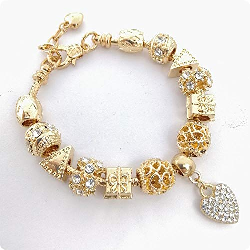 Hundetasche armbanden voor vrouwen diy kristal volledige diamant perzik hart groot gat kralen armband dames armband vergulde slang bot ketting