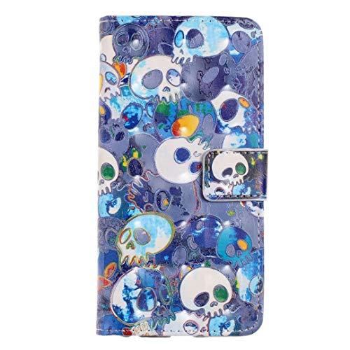 Bumina Samsung Galaxy A50 Hoes, 3D Schilderij Schokabsorberende PU Lederen Notebook Portemonneehouder met Kickstand Functie Kaarthouder en ID Slot Magnetische Slim Flip Beschermende Telefoonhoesje Cover Blue skull