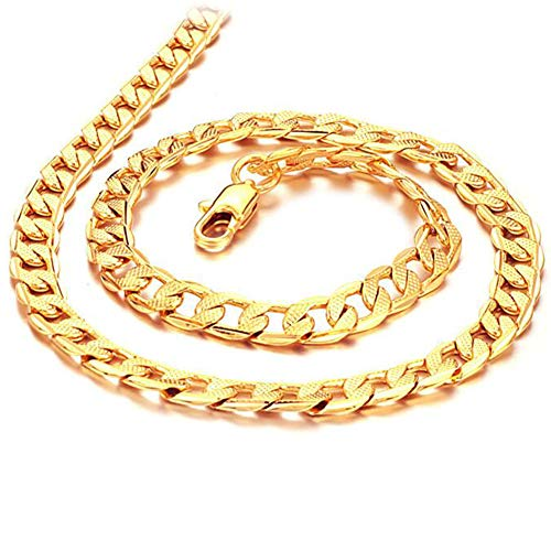 DX.OPK Gelbgold 18 Karat / 750 Gold Kette Herrenschmuck Klassische Herren Halskette 7mm Breit,Long:60cm/23.6in