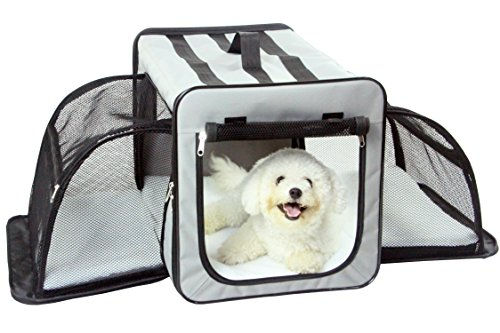 PET LIFE 'Capacious' Dual-Sided Expandable Spacious Wire Folding Collapsible Lightweight Pet Dog Crate Carrier House, Small, Grey
