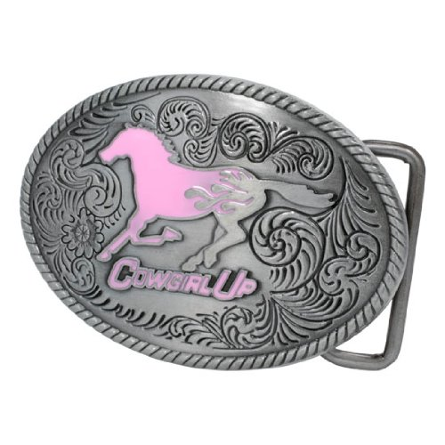 Buckle Rage Adult Women's Cowgirl Up Pink Flames Mustang Horse Belt Buckle Silver