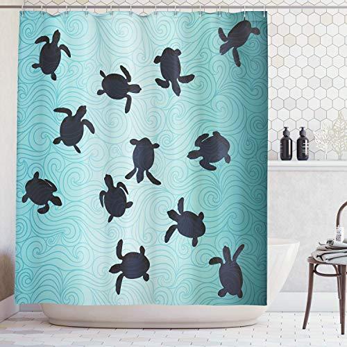 Shine-Home Duschvorhänge, aus Polyester, mit Meeresschildkröten-Motiv, von der Unterseite des Ozeans, wasserdicht, langlebiger Stoff, Badewannen-Vorhang-Set mit Haken 36''W x 72''L blaugrün