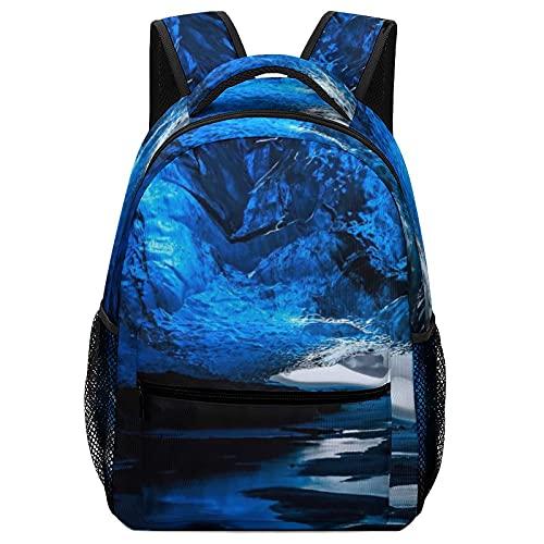 Mochilas escolares para niñas y niños niños bolsas de libros, agua cueva azul