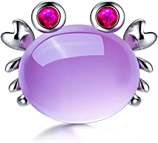 WCJ Furong Stone Natural Crystal Cute Small Crab Shape 925 Sterling Silver Clavicle Chain to Send Girlfriend Pendant Ladies Necklace (Color : Purple)