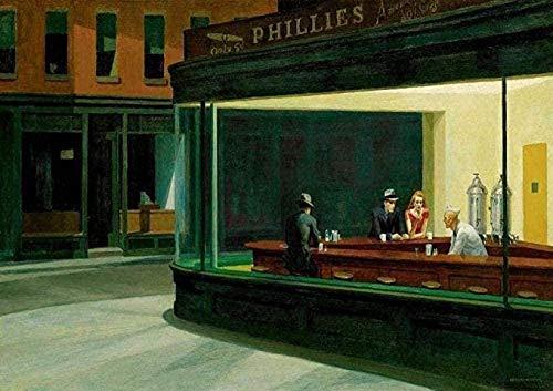 MKAN Puzzles Rompecabezas De Madera 1000 Piezas, Edward Hopper: Nighthawks Desafiante Rompecabezas DIY 50X75Cm