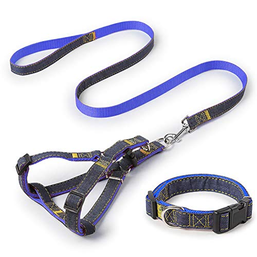 iCAGY Dog Harness and Leash Set with Collar for Small Pets, Easy Walk Adjustable No Pull Dog Harness Leash Collar, Soft Nylon H-Shape Full Dog Body Harness, Blue S