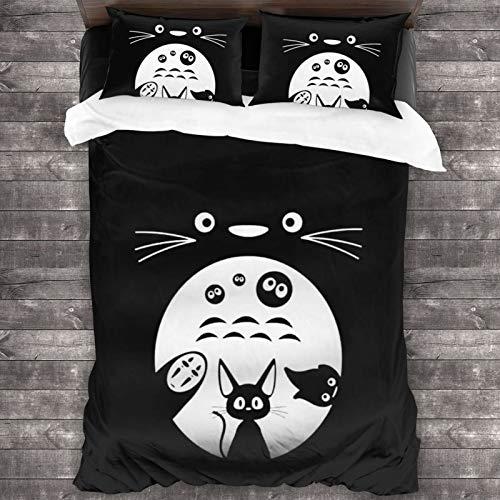 Anime My Totoro Ropa de cama de microfibra para el hogar, 3 piezas, 1 funda de edredón con cremallera oculta+2 fundas de almohada, bolsillo estilo sobre de 200 x 172 cm