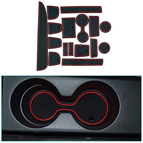 Muchkey Anti-Staub rutschfeste Innentür, Tasse, Arm Box, lagerung Matte Rot für 2013 Mazda 5 11 Stück pro Satz