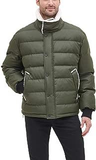 DKNY Men's Faux Leather Sherpa Collar Ultra Loft Puffer Jacket